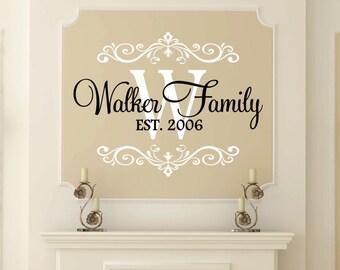 Monogram 22x16.8 Home Decor Family Vinyl Wall Art Decal Personalized Last Name Vinyl Custom Last Name /& Monogram Vinyl Decal Set