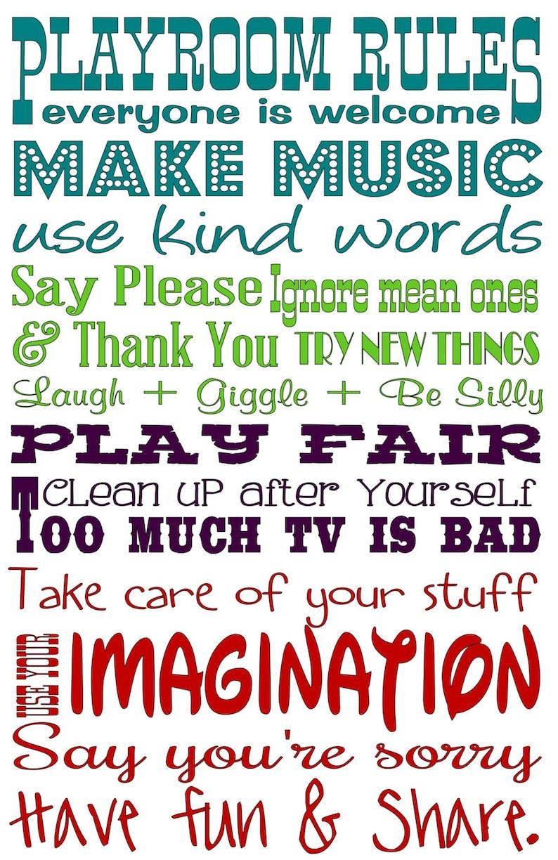 Child/'s Playroom Decor Playroom Imagination Playroom Rules Vinyl Subway Lettering Vinyl Wall Art Decal Make Music Play Fair 17.25x27
