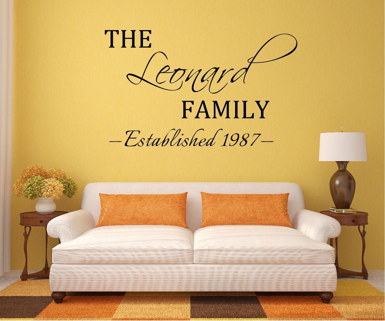 Custom Family Name Vinyl Decal Family Vinyl Wall Art Decal | Etsy