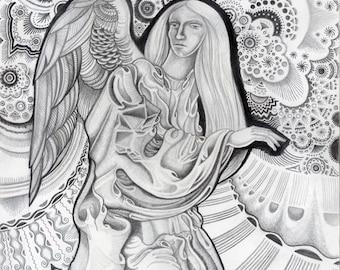 angel pencil drawing etsy