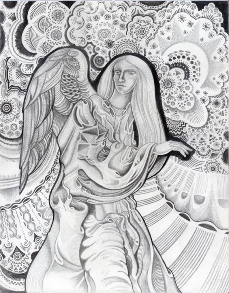 Original angel pencil drawing of an angel with wings