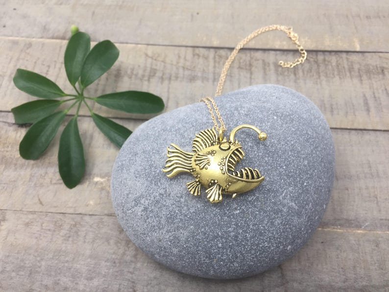 biology necklace marine biology necklace deep sea necklace fish necklace ocean lovers feminism necklace Angler Fish necklace biology
