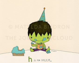 H is for Hulk and his smash cake print
