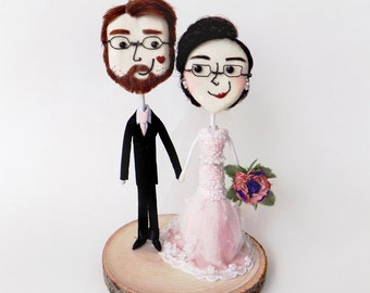 Exquisitely Handcrafted Tiny Charming Keepsake Wedding Cake Toppers, fully personalized