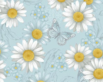 Benartex  Fabric/ He Still Loves Me / All Over Blue / Quilting Fabric / Cotton