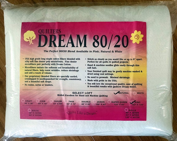 Twin Size 93X72 Quilters Dream 80//20 White Select Loft Batting