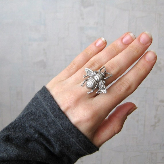 mother bee black ring Bee ring Bumble bee ring Bumblebee ring antique brass antique silver READY TO SHIP honey bee ring