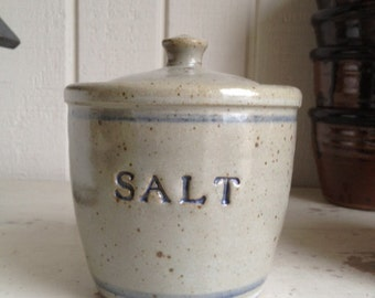 Stoneware Salt Cellar with Lid