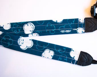 Friendly Blue Clouds DSLR Camera Strap - Cotton + Steel Fabric
