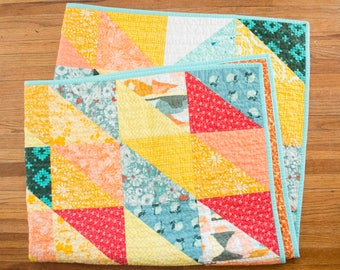 Vibrant Half Rectangle Quilt - Lap Quilt - Throw Quilt