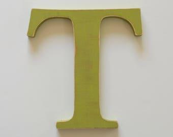 Wooden Letter T - 12 inch Nursery Letter - Wood Letter