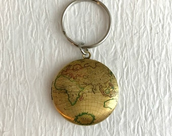 World map key chain etsy popular items for world map key chain gumiabroncs Image collections