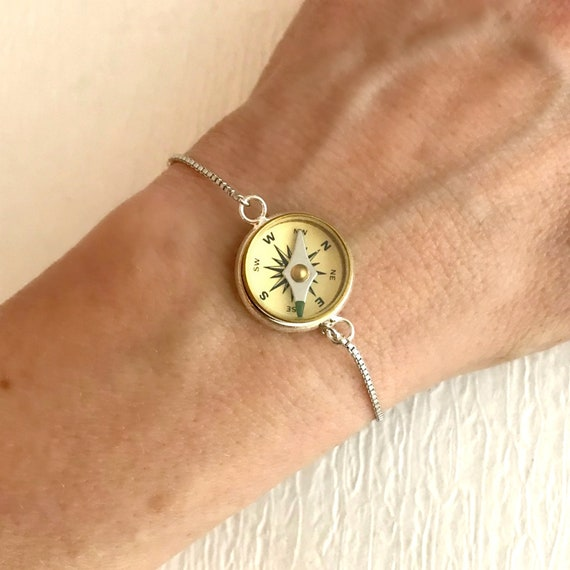 Working compass bracelet 16mm compass bolo bracelet sliding