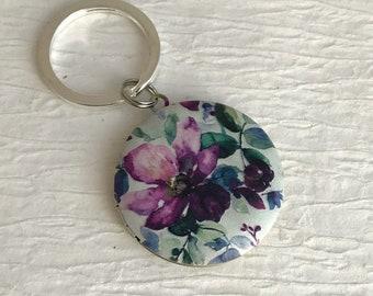 Purple Flower Locket Keychain, flower key chain, floral locket, teacher gift, nature jewelry, child keychain, keychain for child