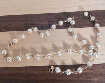 Sarah Coventry caged pearl necklace and bracelet set