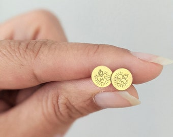 Sacred Heart Studs: Hand stamped studs in brass, copper, or silver
