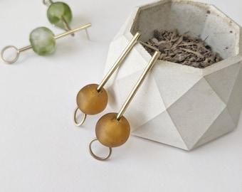 Magic Key Magic Bead Stud Drop Earrings: Vintage Amber Glass on Gold Jeweler's Brass Sterling Posts Kinetic Midcentury Modern Organic