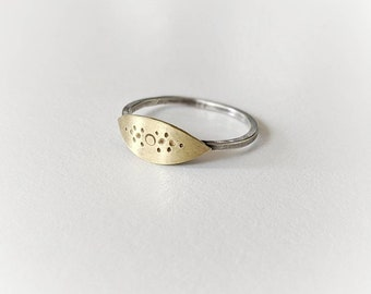 Simple Stacking V1: Mixed Metal Brass and Sterling Silver Hand Stamped
