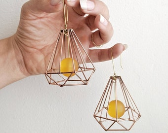 Abstract Lampshades: Mixed Metal and Resin Statement Earrings