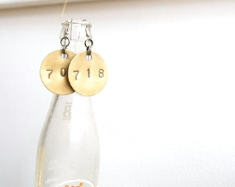 718/704: Salvage Solid Brass Tag Upcycled Earrings OOAK Recycled Upcycled Large Brass Tag Stamped Jewelry