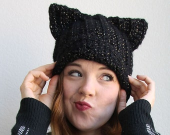 Black Cat Slouch Hat Crochet Pattern - Instant Download