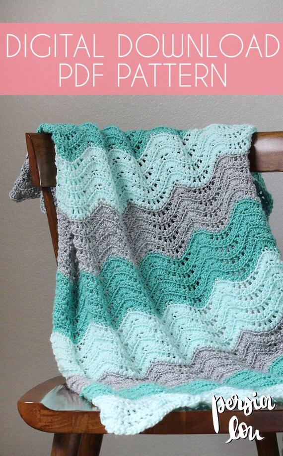 Feather And Fan Baby Blanket Crochet Pdf Pattern Instant Etsy