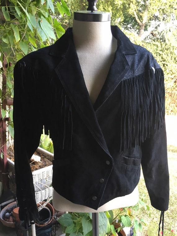 80s Vintage Black Suede Collar for Women
