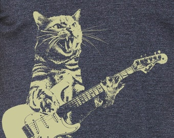 Cat playing guitar shirt   mens cat playing guitar tshirt   music tee   mens graphic t shirts