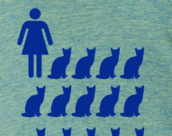 Womens crazy cat lady shirt- American Apparel tri blend lemon- available in S, M, L , XL WorldWide Shipping