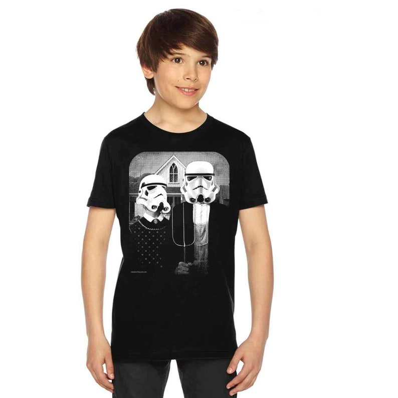 6695acd3744e9 Star Wars American Gothic on boys kids childrens t shirt- american apparel  slate, 2, 4, 6, 8, 10,12 year old sizes -WorldWide Shipping