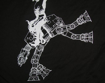 star wars AT AT cowboy on mens t shirt- american apparel black, available in S,M, L ,XL, 2XL worldwide shipping