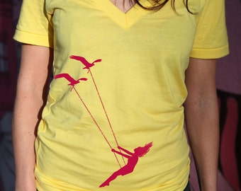 Womens Flying bird swing Deep V Neck t shirt, american apparel sunshine yellow t shirt, XXS -L  WorldWide Shipping