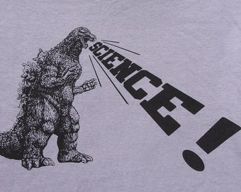 mens Godzilla Science t shirt- American Apparel slate gray- available in s, m, l, xl, xxl- WorldWide Shipping