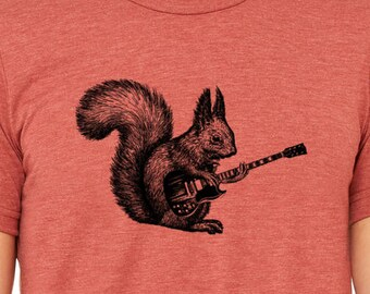 Mens squirrel playing guitar shirt- tri blend clay- s, m, l, xl, xxl- worldwide shipping