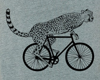 Mens cheetah on a bike t shirt Bella athletic gray - S, M, L, XL, XXL - Worldwide Shipping