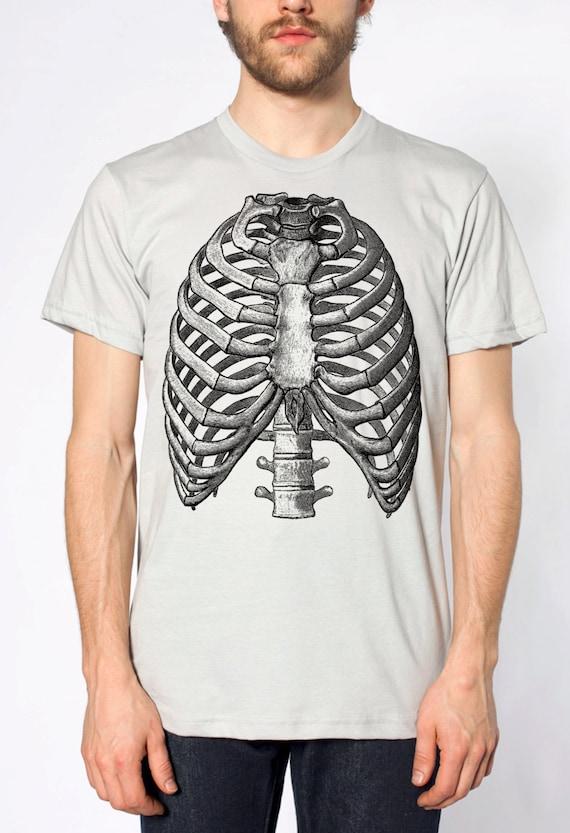 Mens Vintage Ribs Anatomy T Shirt American Apparel Silver Etsy