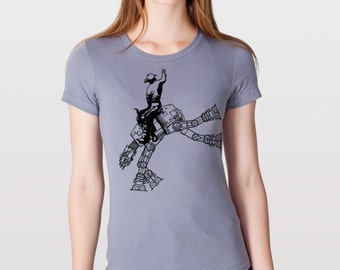 Womens star wars AT AT cowboy on womens shirt- american apparel slate gray, available in s,m, l, xl, WorldWide Shipping