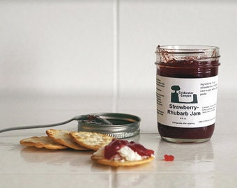 Strawberry Rhubarb Jam. 8oz. State Fair Best In Show Winner Delicious Vegan Food Gift!