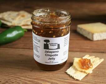 Jalapeno Chipotle Jelly 8oz Hot Spicy Sweet Smoky Pepper Jelly Delicious Vegan Food Gift
