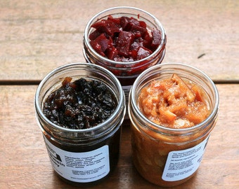 Gourmet Delicious Vegan Food Gift for any Foodie or Special Day Food Gift; THREE 8 oz Jars: Jams, Jellies, Preserves