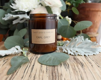 Earl Grey // NEW! 6 oz AMBER JAR // Wooden Wick // Soy Candle