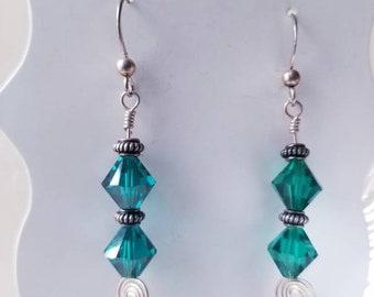 Emerald Swarovski Crystal Wire-wrapped Earrings