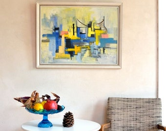 Vintage Abstract Painting Original Signed H Schneider 1964 Lemon Yellow Cool Blue Jazz Tones