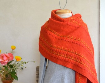 Bright Red Handwoven Wrap Vintage Wool by Maria Svatina 1970s