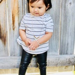 Black Faux Leather leggings vegan Baby Toddler Kids Girls Boys unisex stretch pants Size 0 3 6 9 12 18 24 months 2T 3T 4T 5T 6 7