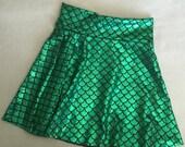 Mermaid Skirt Green Black Skater Style girls twirl skirt Birthday Outfit 6 9 12 18 24 months 2T 3T 4T 5T 5 6 7 9 8 10 11 12 shiny metallic