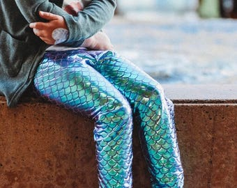 Mermaid leggings Turquoise Blue and purple Aqua girls Baby Toddler Birthday fish scale pants 0 3 6 12 18 24 months 2T 3T 4T 5T 6 7 costume