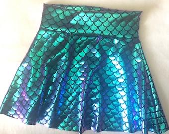 Mermaid Skirt Purple Turquoise Teal two tone iridescent girls skater twirl skirt 6 9 12 18 24 months 2T 3T 4T 5T 5 6 7 9 8 10 11 12