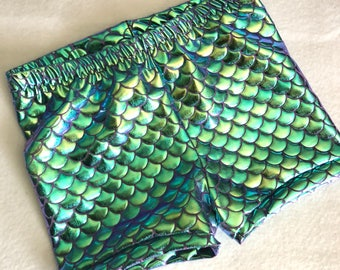Mermaid Shorts Baby Toddler Turquoise and purple two tone Birthday 6 12 18 24 months 2T 3T 4T 5T 6 7 8 9 10 11 12 14 girls aqua