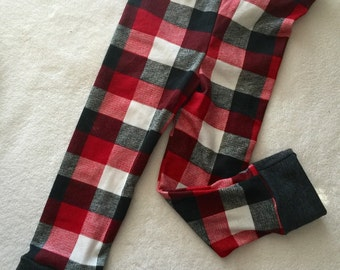 Buffalo Plaid leggings Black and White and Red Baby Toddler Kids Girls Boys unisex stretch pants Size 0 3 6 9 12 18 24 months 2T 3T 4T 5T